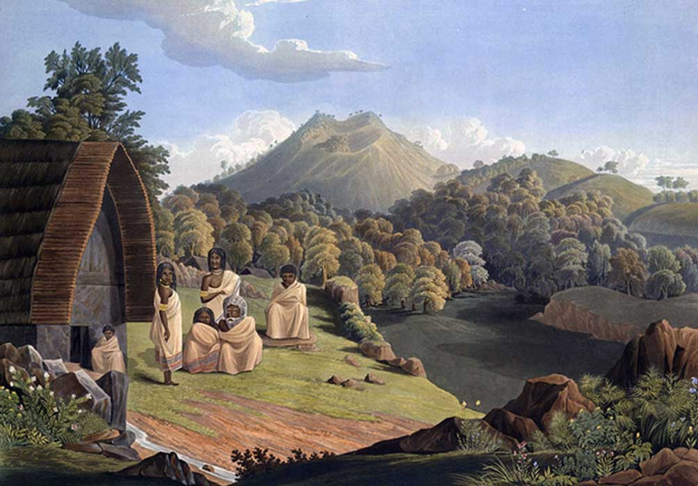 The Toda mund, from Richard Barron, 1837, View in India, chiefly among the Nilgiri Hills
